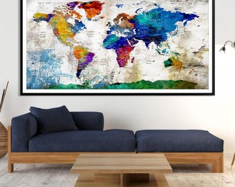 World Map Canvas, World Map Canvas Art, Large World Map, World Map, World Map Print, World Map Wall Art,