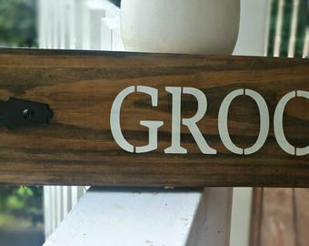 Rustic Grocery Sign with Metal Hinge