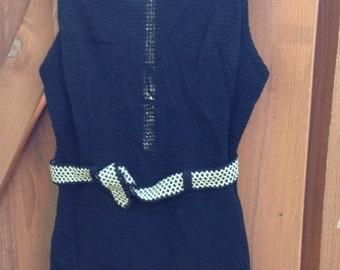 1930's Womens Black Jantzen Wool Swimsuit