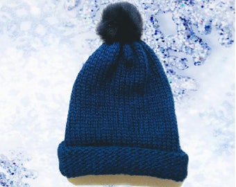 Youth - Adult Navy Blue Knit Hat with Faux Fur Pom Pom