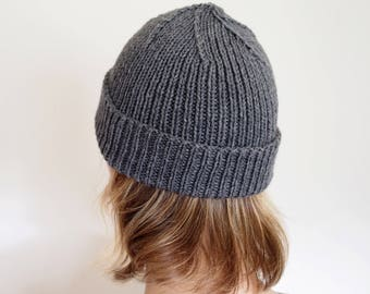 Dark gray knitted beanie