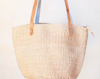 Beige Straw bag, woven basket bag woven straw bag africa basket beige kenya bag straw market bag straw tote straw beach bag beige sisal bag