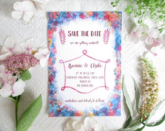 "Save the Date card ""India"", modern, simple, colorful, boho, bohemian Wedding stationery / paper or digital"