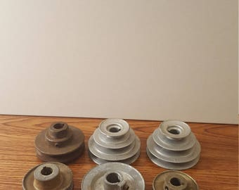 Set of 6 Vintage Metal Pulleys
