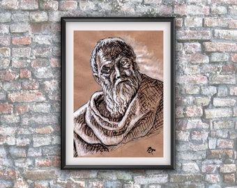 GoT, Maester Pycelle, Julian Glover, Game of thrones, home decor, downloadable, fan art, instant gift, ink drawing , wall poster, fantasie