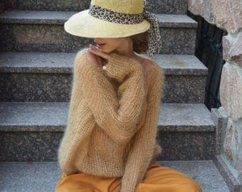 MADE TO ORDER camel mohair sweater, camel chunky sweater, Knitted see-through sweater,Sexy sweater, Light soft sweater, Bohemian  sweater