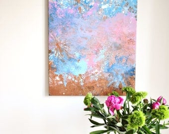 Abstract painting 'Stardust', ORIGINAL, acrylic on canvas, free shipping, blue, rosé, copper, summer