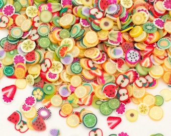 1000 pcs Fruit Polymer Clay Slices Kawaii Nail Decoration Art Small Cabochons Cell Phone Deco