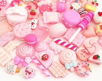 Pink Sweets Cabochon Mix (10 pcs / 30 pcs by Random) Polymer Clay Resin Kawaii Flatback Decoden Craft Cute Fake Food
