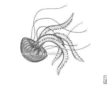 Jellyfish drawing - Jellyfish art - Jellyfish decor - Jellyfish painting - Jellyfish artwork - Jellyfish print - greeting card - Jellyfish