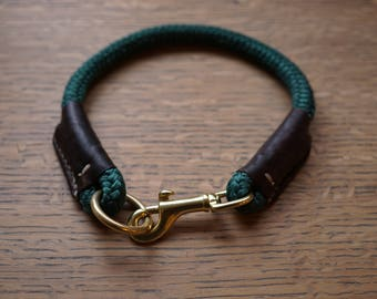 Custom Rope Dog Collar ~ Rope and Leather Collar ~ Genuine Leather Accents ~ Yacht Rope ~ Hunter, Navy, Maroon, Black, Blue Collar