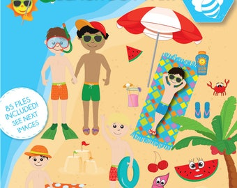 Beach Boy Party Clipart Commercial Use Kids Vector Graphics Vacation Digital Clip Art CL0031