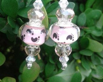 Baby Girl Footprint Earrings