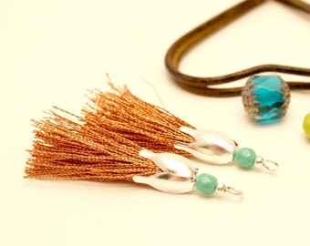 2 Bronze, 45 mm Pompom tassels handmade Pearl Turquoise, silver tassel