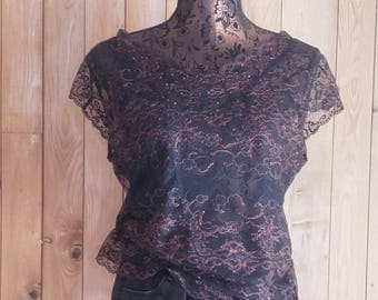 Black BLOUSE and ROUGECUIVRE French Calais lace soft neckline detail handmade