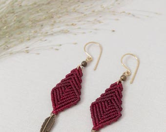 Macrame earrings, handmade jewelry, handmade earrings, micro macrame, feather earring