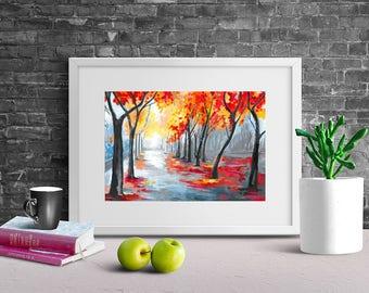 Acrylic Painting on Paper - Rainy Tree Landscape, Autumn/Fall Home Decor, Contemporary Art