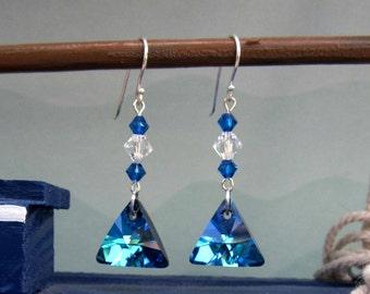 Bermuda Blue Swarovski Triangle Charm Earrings Sterling Silver