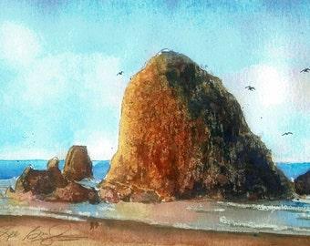 Haystack Rock Original Watercolor Painting 7 in X 10 in Cannon Beach OR Blue Brown Ocean under 50