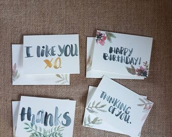 Set of 4 cards | Blank | Thanks | I like you | thinking of you |happy birthday | watercolour | handmade | matching envelopes