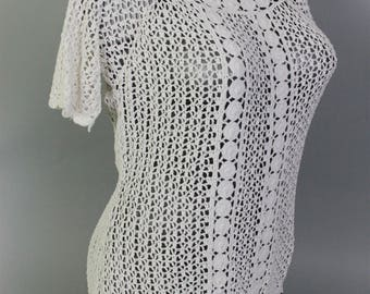 Crocheted White Shirt - Crochet Top - Beach Cover-up - Summer Shirt - T-shirt Crochet Blouse - White top - Blouse Summer Top - Crocheted top