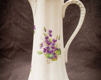 Dresden Porcelain Pitcher with Purple Violets