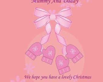 Mummy & Daddy Christmas Card from Twin Bump Girls
