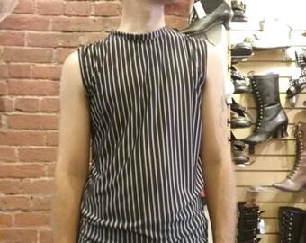 Men's Festival Shirt -Black and White Pinstripe