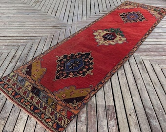 "3""5x11""5ft.Vintage Turkish runner rug.Vintage Oushak Rug Runner,Runner,Muted Color Runner Rug,Vintage Turkish Runner Rug,Persain"