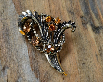 Vintage 1950's Brooch, Vintage Brooch, Gold Brooch, Brooch, Vintage Jewelry, Topaz Brooch, Floral brooch, Gifts for Her, Wedding Gifts,