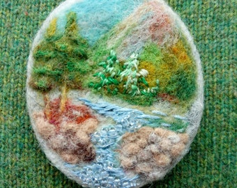 Needle Felt Brooch Landscape Nature Felted Mixed Media Picture Pin Embroidered Beaded Riverside Scenery Mountain Stream Unique  Boho Jewelry