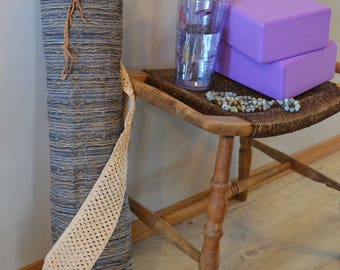 Textured Yoga Mat Bag, Braided Drawstring, Denim Like, Travel and Meditation