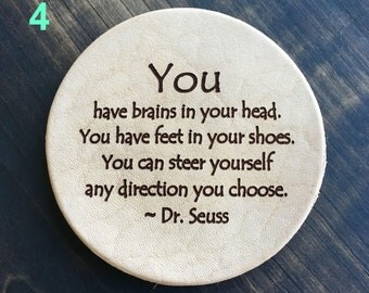 You Have Brains Dr. Seuss - Inspirational Quotes Leather Coasters