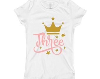 Pink and Gold Birthday Shirt - 3rd Birthday Shirt 3 - Three Birthday Shirt - Pink and Gold Birthday Party - Crown Birthday Shirt for Girls