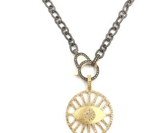 Short brushed 18k gold and sterling silver diamond evil eye necklace, Pave diamond necklace, Layer necklace, Diamond chain