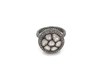 Size 7 - Pave rough cut diamond statement ring