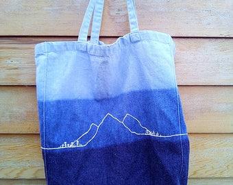 Hand Embroidered Denim Dip Dye Tote Bag, Mountain Range