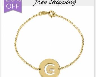 20% OFF • Initial Disk Bracelet • Personalized Letter Bracelet • Cut Out Initial Bracelet • personalized gift • delicate bracelet • GPB1069