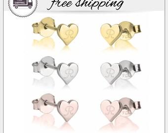 Initial Earrings, Heart Stud Earrings, Personalized Earrings, Custom Letter Stud earrings, Silver, Gold, Rose Gold Heart Studs,