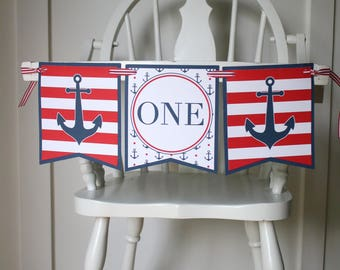 Nautical High Chair Banner -Nautical Boy Birthday High Chair Decoration - High Chair Bunting - Nautical Birthday Party - First Birthday