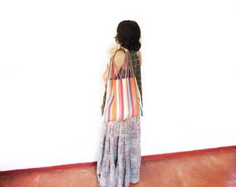 Loom Tote handbag - beige stripes - Mexican Bag