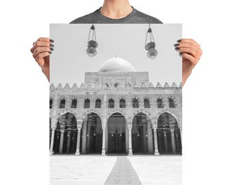Photo paper poster Cairo mosque black and white wall art photography Egypt Middle East religious architecture travel dome monochrome Ramadan