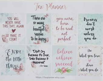 8 Motivational FullBox Stickers // Planner Stickers for Erin Condren, Plum Paper. Inspirational Quotes | believe | enjoy the little things
