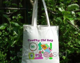 Crafty Old Bag - NoveltyTote Bag /Funny/Cotton/Shopping/Craft/Gift/Birthday