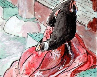 ACEO / ATC Original: 'Oriental Lady Waiting' - ink and watercolor on 140lb watercolor paper