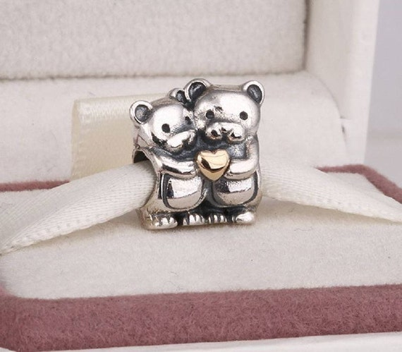 c3fdc8de8 ... Beads Fits Pandora Charm 12.49 topseller Two Tone Heart Teddy Bear Charm,  925 Sterling Silver 14K Gold Plated, ...