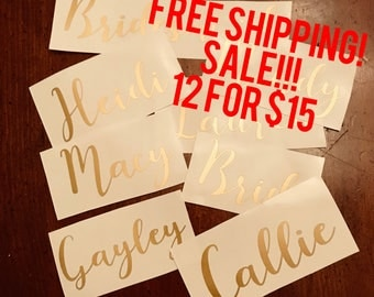 Yeti Decal - Custom name decal - Gold decal - Name decal - Yeti cup decal - Bridesmaid decal - Laptop Decal - Kids name decal - Personalized