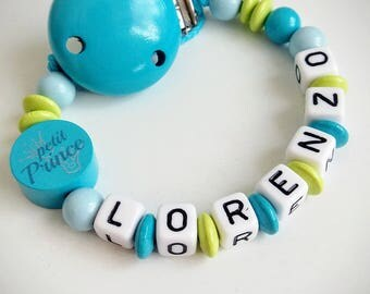 "Personalized pacifier ""little prince"" turquoise, blue and green - model ""Lorenzo"""