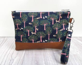 Emilia Clutch - wristlet purse - foxy forest - faux leather - travel wallet - free shipping
