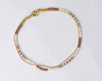 Simple, Delicate Bead & Thin Gold Chain Wrap Bracelet Δ Minimalist Multistrand Layering Bracelet Δ Beaded Friendship Bracelet Δ Gift for Her